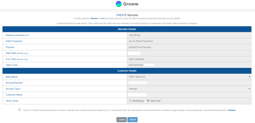Grow App Review - Setting up bank mandate for SIP